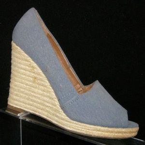 Franco Sarto Kylie blue espadrille wedges 8.5M